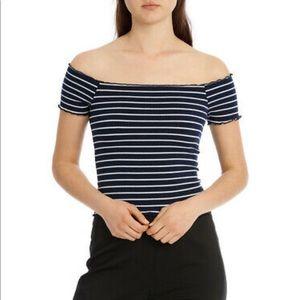 Bardot LEA Off Shoulder Navy Stripe Top